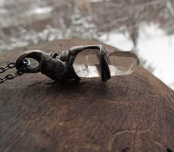 Crystal Quartz huge raw pendant SIGLE KRYSTAL rock crystal meditation winter gift get well valentines, unisex, for him