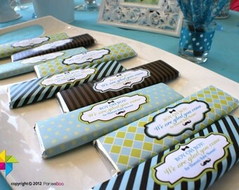 Customized Party / Baby Shower Chocolate Bar Wrapper (Little Man Theme) x 12 pcs