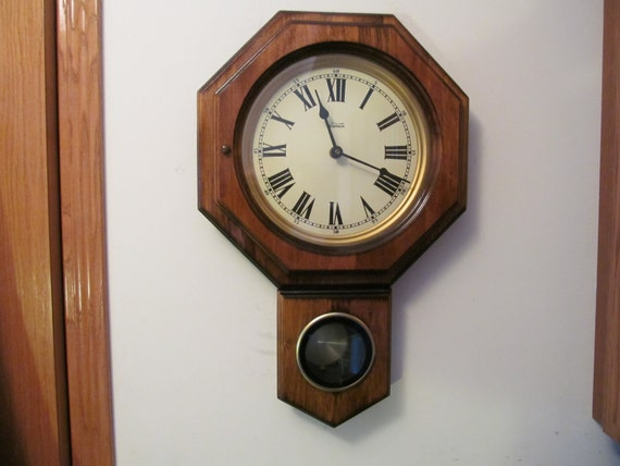 Vintage Verichron Wall Clock With Chime And Pendulum By