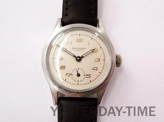 Crosby (O.Maire) 1940's Stainless Steel 17 Jewel Incabloc Gents Manual Watch