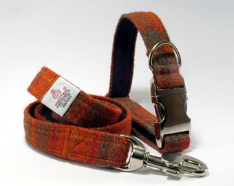 Collar & Lead Set in Orange and Olive Harris Tweed - FREE UK Postage