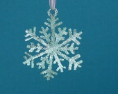 Snowflake Pendant Large Sterling Silver Diamond Pave' Tooled Hammered snow flake
