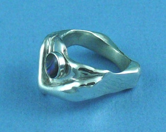 V Ring Sterling Silver With Paua Shell