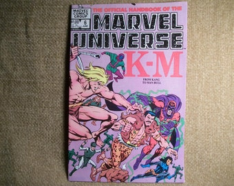Super Heroes Comic Book K to M From Kang to Man Bull Official Handbook of the Marvel Universe Vintage June 1983 Vol 1 No 6