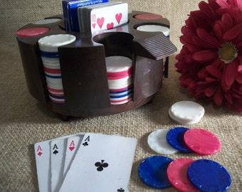 Poker Game Carousel Rotating Chip Caddy and Card Holder 200 Mid-Century Plastic Gaming Chips Home Casino Vintage Game Set