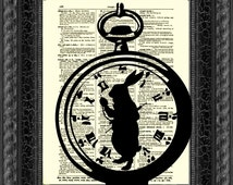 Alice in Wonderland White Rabbit, I'm Late Alice in Wonderland Pocket Watch Dictionary Art Print, White Rabbit Art Print