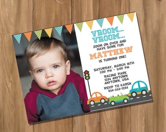 Cars Birthday Party Invitation with Photo (Digital - DIY)