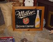 Miller Beer custom framed solid cedar wood 15X18 man cave metal vintage bar sign oak finish country rustic wall display