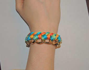 Large Woven Gold or Silver Chain Bracelet