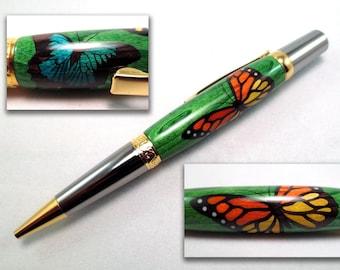 Handmade Wood Butterfly Pen