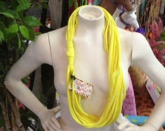 Neon Yellow Shredded Couture Recycled T-Shirt Jersey Knit Shredded Infinity Scarf/Necklace