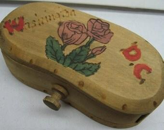 washington dc wooden souvenir trinket box vintage painted