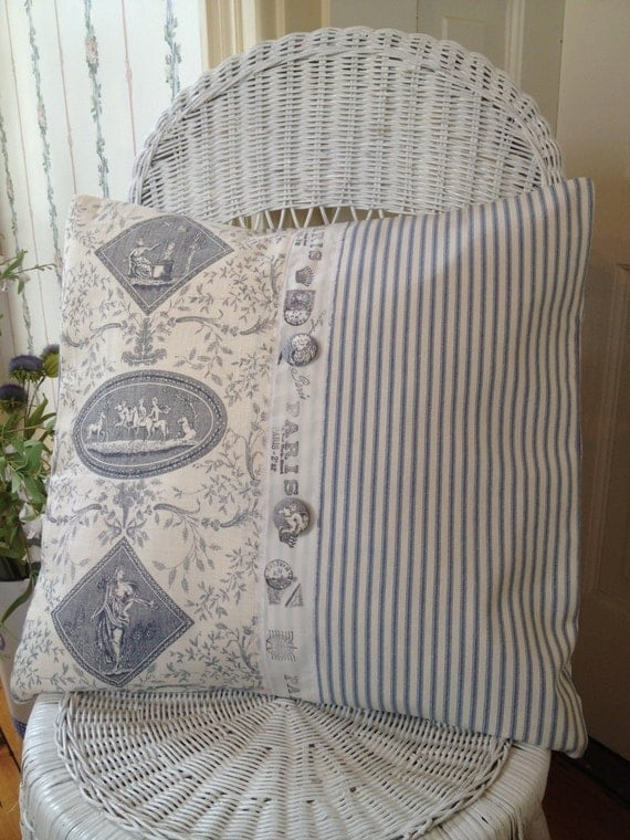 French Country Pillow Cover Shabby Chic Pillow Cover Blue