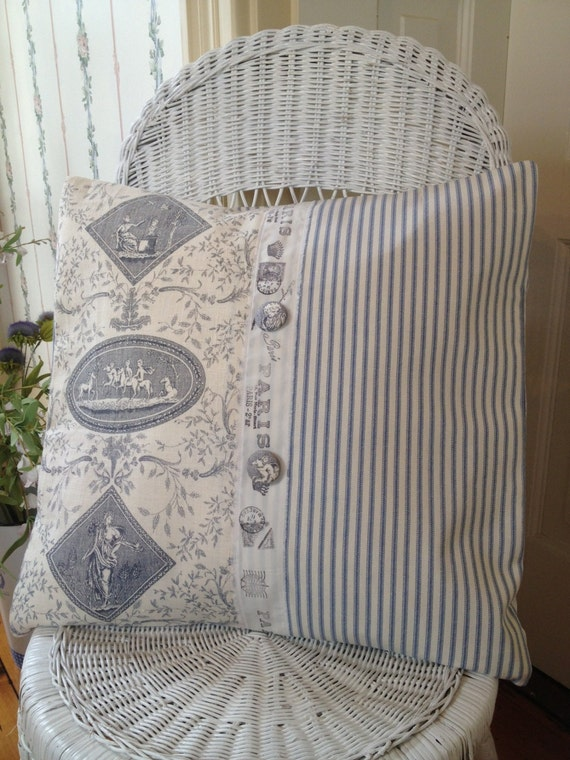 French Shabby Chic Pillows : French Country Pillow Cover Shabby Chic by ParisLaundryDesigns