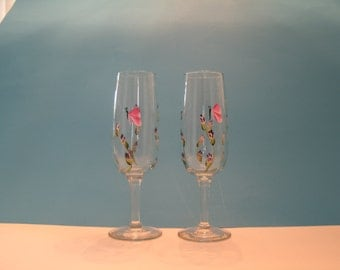BUTTERFLY CHAMPAGNE FLUTES set of two