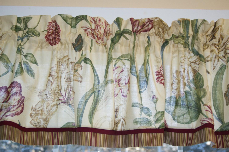 Waverly Somerset Botanical Parchment Toile Valance 17x