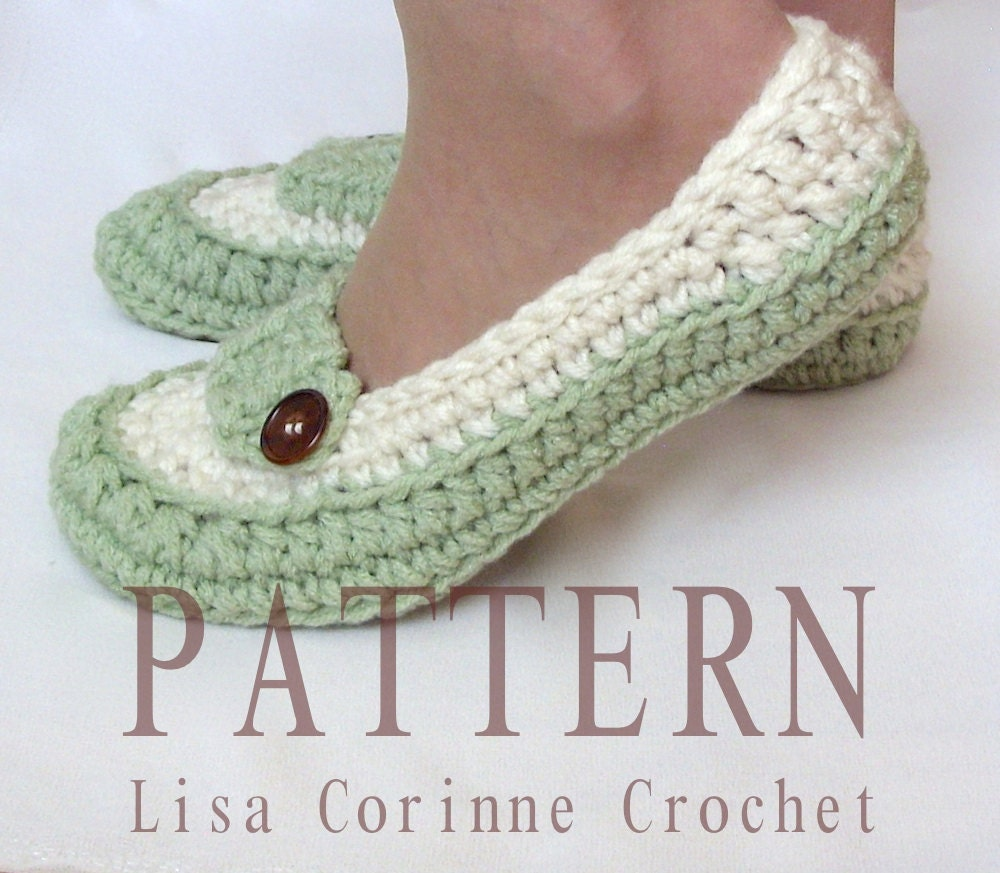 Crochet Shoes : Crochet Slippers PATTERN Womens House Slippers Ladies