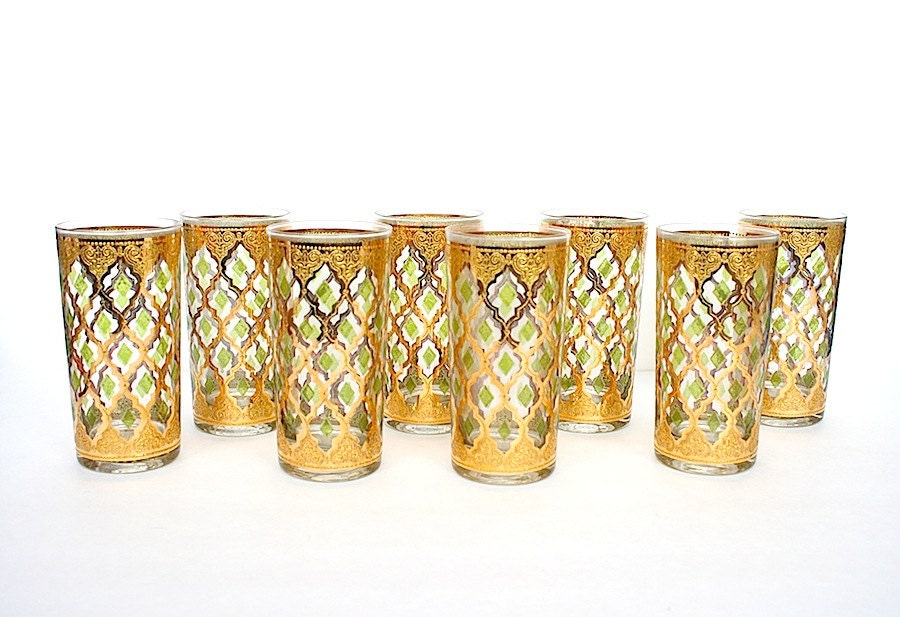 Culver valencia glassware vintage glasses mad men barware 22k - Vintage valencia ...