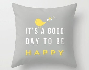 Happy pillow 16x16 Decorative throw pillows grey yellow white pillow cover home decor ornament and decoration housewares