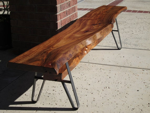 Long Dining Table Bench Live Edge Solid Wood Slab