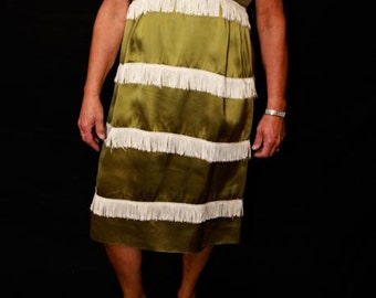 1920's Lined and Fringed Flapper Girl Dress