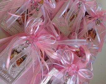 12 Pc baptism favors/ christening favors/ recuerdos de bautizo/ bautismo / mini rosary / baptism favor  for girl / baby pink