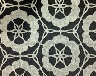 Black Grey Arabian Geometric Floral Pattern Upholstery