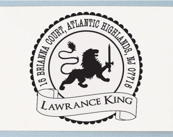 Custom Personalized Return Address Mounted Rubber Stamp - Lion Address Stamp Design - AA07