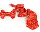 Kids SET Necktie & Bow-tie Scarlet Red gift box, gifts for kids. Boys birthday gift. newborn tie, baby tie