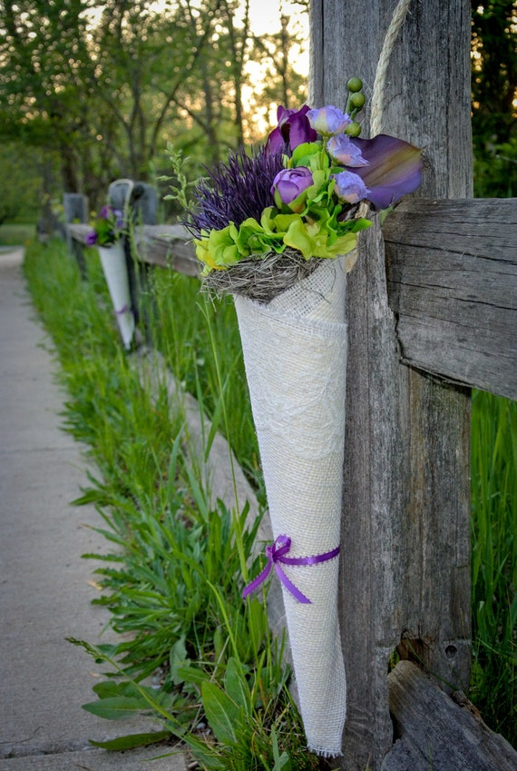 Burlap and Lace Flower Cone Decor with Purple and Lime Green Life-Like Flowers for Aisles, Pews, Chairs Wedding Decor