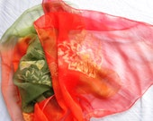 silk  scarf  color green - orange    100% silk Chiffon 3,5 Size: 45x180cm (71x18) Wrapped as a gift. hand painted - HelenaArtSilk