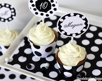 POLKA DOT PARTY Supplies in 21 color combo & 8 font choices - The Celebration Shoppe