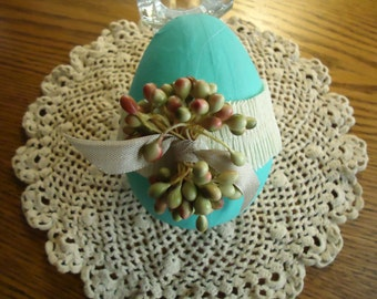 Turquoise  Blue Paper Mache Easter Egg