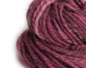Handspun Navajo Plied Yarn - Knitting Yarn - 80/ 20 Merino Wool and Silk - Vin et du Chocolat - Red and Brown - Handmade