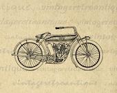 Motorcycle Antique Digital Graphic Printable Illustration Image Download Vintage Clip Art for Transfers etc HQ 300dpi No.3455