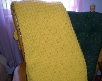 Yellow Crocheted Afghan/Bright Yellow Blanket/Crocheted Yellow Throw/Yellow Crocheted Blanket/Handmade Yellow Blanket