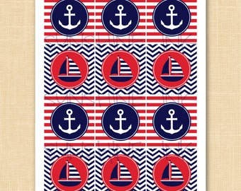 Printable Nautical Party Circles / Cupcake Toppers / Favor Tags - INSTANT DOWNLOAD