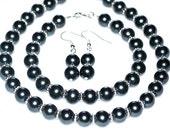Black Pearl Bridal Set jewelry