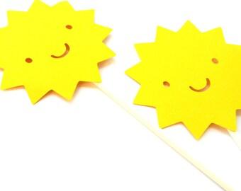 12 Sun Cupcake Toppers