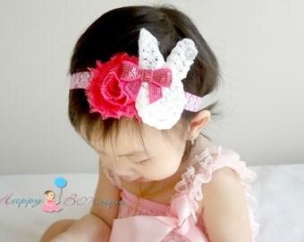 Baby Easter Headband, Shabby Bunny Hot pink dasmak headband.Baby Bunny Headbands,MTM Petti Lace romper,Baby Easter oufit,1st Easter Headband