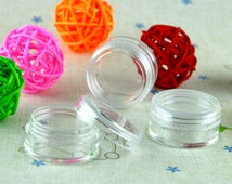 10pcs Empty Round Bottles Pot with Plate for Craft Bead Glitter Powder Acrylic Clear Container