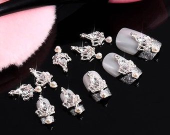 10pcs 3D silver Alloy Crown Nail Art stickers Rhinestones DIY Handmade & Nails Decoration