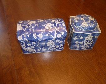 Two Vintage Blue and White Tins