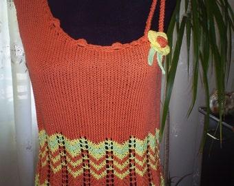 hand-knitted top, orange, blouse sleeveless, knit top, strapless top, womenswear, knitwear