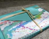 Set of Four Hand Painted, Blank Cards with matching Envelopes