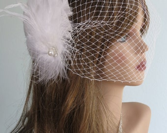 Wedding Headpiece with Bridal Birdcage Veil - Fascinator- Wedding Hair Clip - Wedding Accessory-Feathers-Crystals-Vail-Pearl