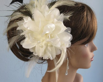 SALE Ivory (White) Bridal Flower Hair Clip Wedding Hair Clip Wedding Accessory Feathers Crystals