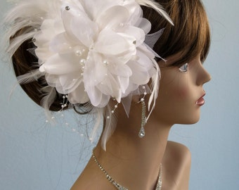 White (Ivory) Bridal Flower Hair Clip  Wedding Hair Clip Wedding Accessory Feathers Crystals