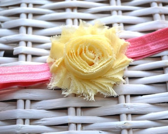 15% off Summer flower Headband, for Newborn to Toddler. Newborn Photo prop, First birthday headband. Easter Headband.