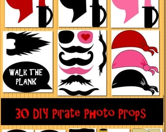 Instant Download DIY 30 Pirate Photo Booth Prop Set